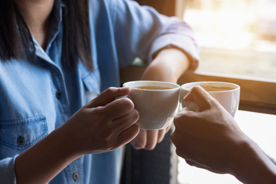 chatting over a cup of coffee