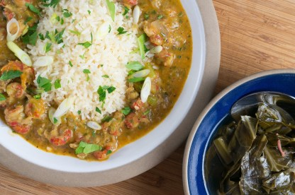 """Crawfish Etouffee"" from ""Real Cajun"" by Donald Link and my recipe for collard greens with ham hocks"