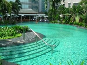 Conrad Hotel pool, Bangkok, Thailand