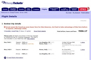 CheapTickets Reprices fare as $506