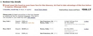 CheapTickets.com screenshot of low SFO-Rome fare