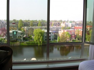 Hilton Amsterdam hotel canal view, Amsterdam, Netherlands