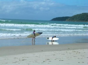 Noosa Beach Australia children surfers