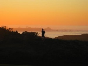 Pebble Beach, Spanish Bay Inn, bagpiper at sunset