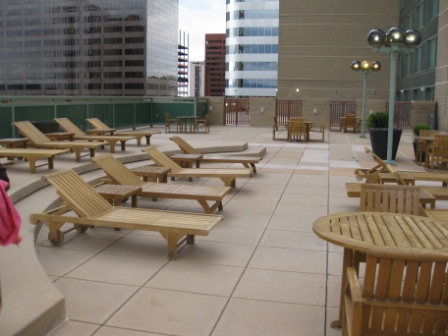 4th floor level rooms with patios and pool deck
