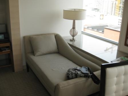 St. Regis San Francisco Room 1202 chaise lounge and window ledge