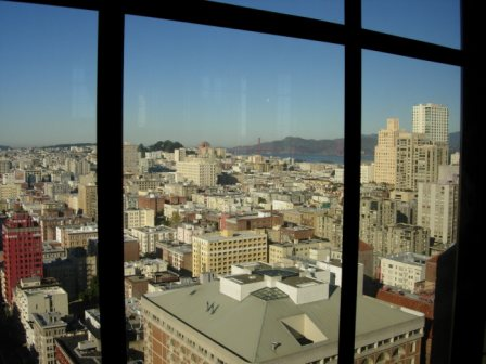 Westin St. Francis View of Golden Gate from top floor 32