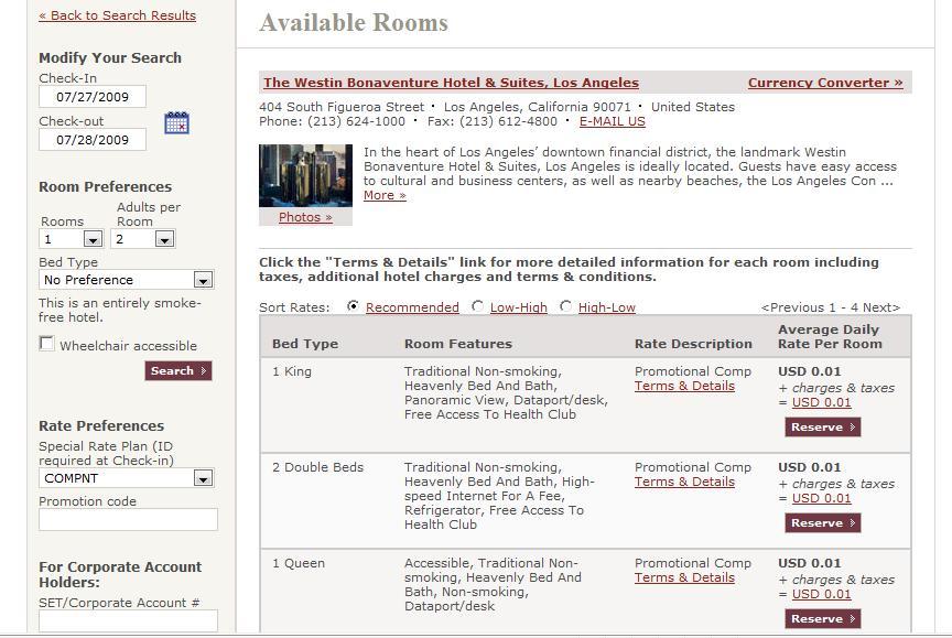 Westin Bonaventure Reservations free room page