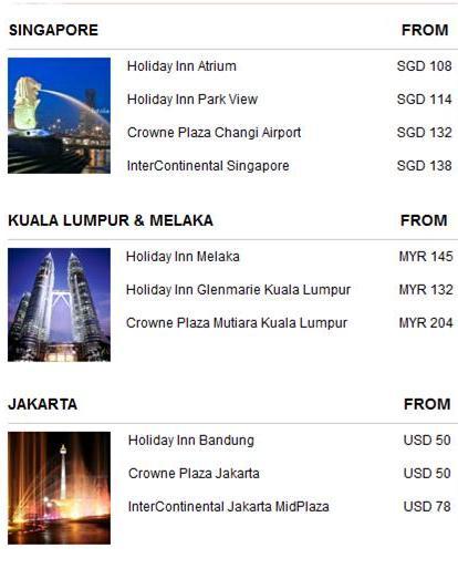 IHG Great Asia Sale Advertised Rates