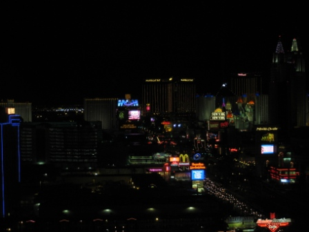 Las Vegas Strip view at night from Room 2339 Planet Hollywood