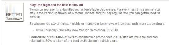 Starwood Hotels Better Tomorrows 50% off 2nd night rate