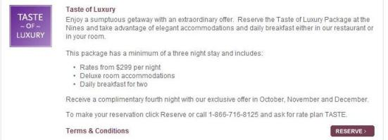 Taste of Luxury special offer rate is a poor value for Labor Day