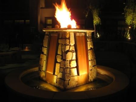 Westin Verasa Napa courtyard fountain firelight
