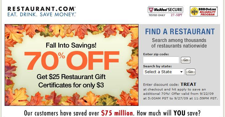 Restaurant.com 70% Savings on Dining Certificates