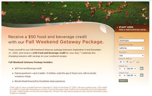 Hilton's Doubletree Fall Weekend Package