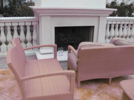 Observation deck seating above pool bar