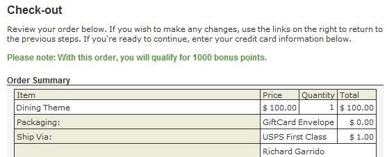 Marriott GiftCard Bonus Points