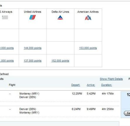 "Priority Club ""Flights Anywhere"" search results MRY-DEN"
