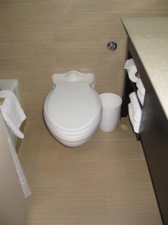 Narrow bathroom at Sheraton Denver Downtown