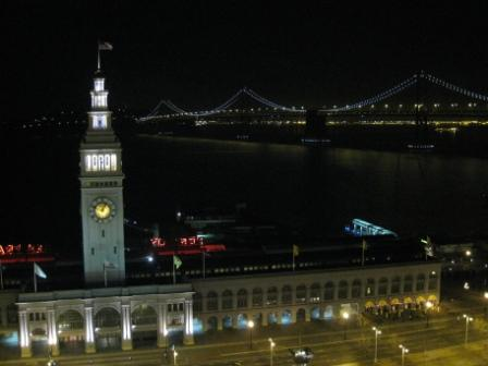 Hyatt Regency San Francisco view of Bay Bridge and Ferry Building at night