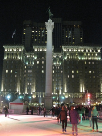 Union Square ice skating and Westin St. Francis Hotel