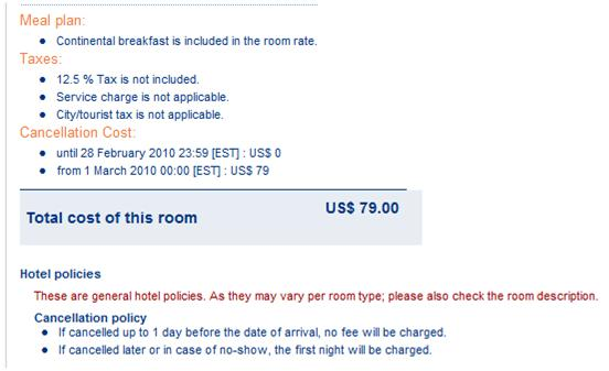 Hyatt Place Orlando Airport 12.5% tax; no booking fees