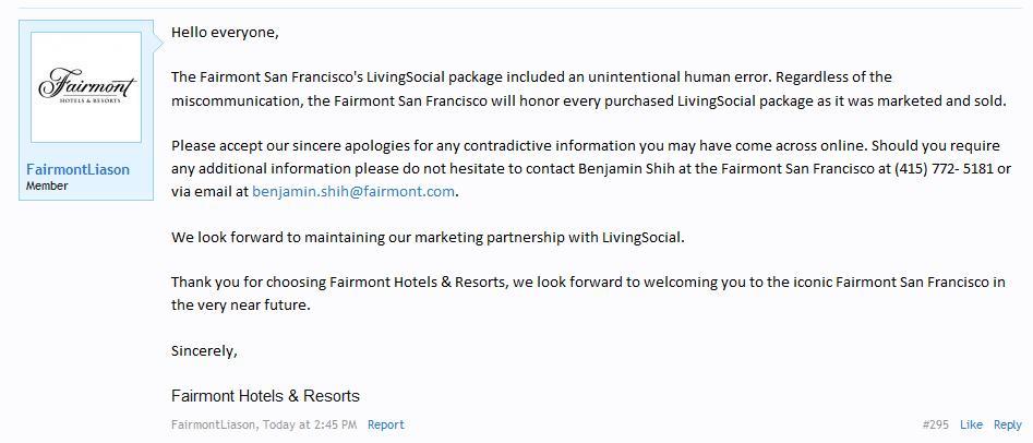 FairmontLiaison Post On MilePoint Regarding SocialLiving 2000 Suite Offer