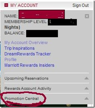 Marriott Rewards my account