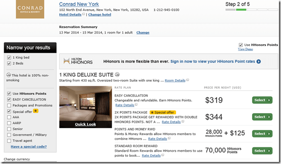 Conrad NY room rate
