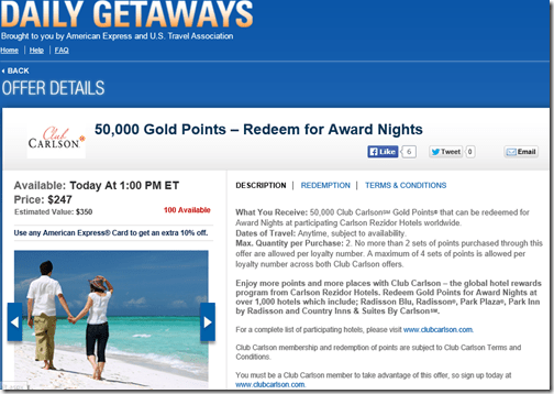 Club Carlson DD points