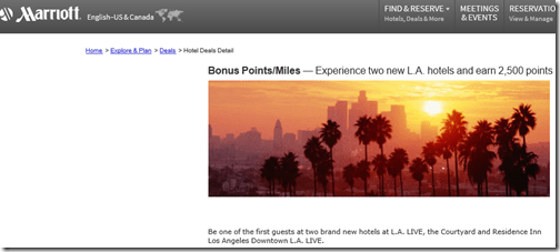 Marriott LA Live bonus points