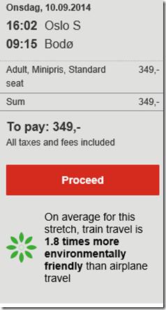 Oslo-Bodo train price