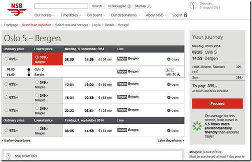 Oslo S-Bergen train price