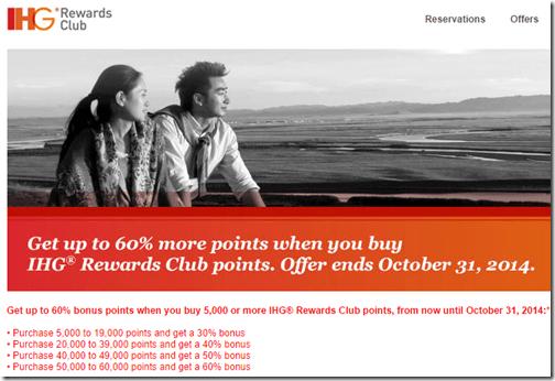 IHG Buy Points 10-2-14