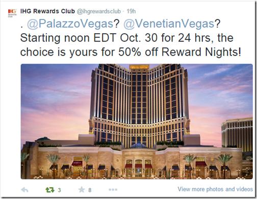 IHG Venetian Oct 30 half-off rewards