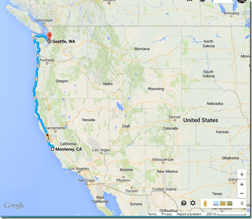 google maps SEA-MRY coast
