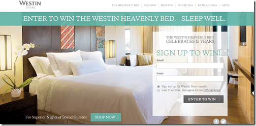 Westin Bed Sweepstakes