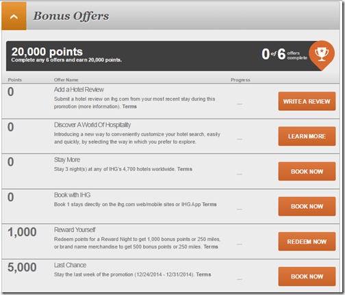 IHG Into the Nights Bonus Offers