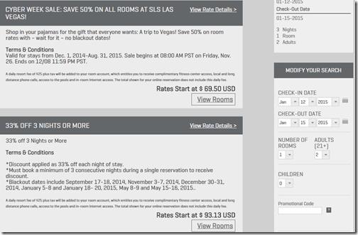 SLS Las Vegas Jan 2015 rates