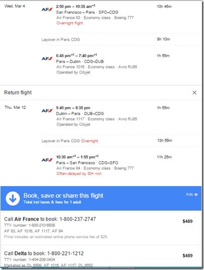 Google Flights SFO-CDG-DUB-$489
