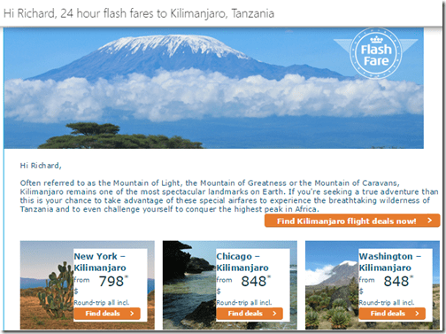 KLM Kilimanjaro Flash Sale