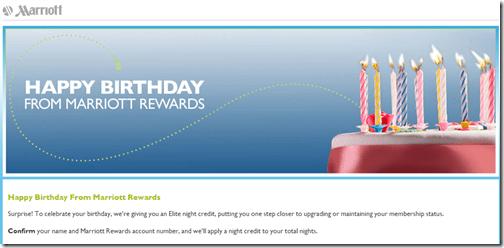 Marriott Happy Birthday to me