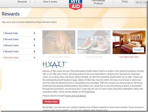 Rite Aid Hyatt 2 nights 1-2015