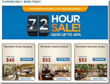 Wyndham 72 hour sale