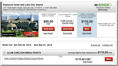 Radisson SLC Airport Megapoints rate