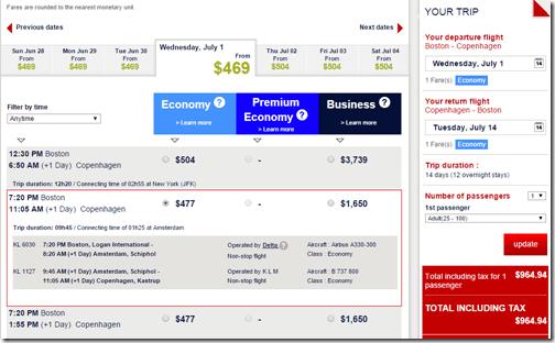 BOS-CPH Air France July $965