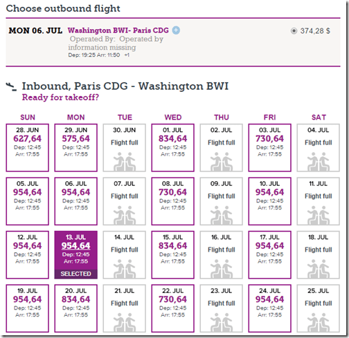 BWI-CDG WOW July