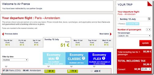 CDG-AMS KLM July 12 $56