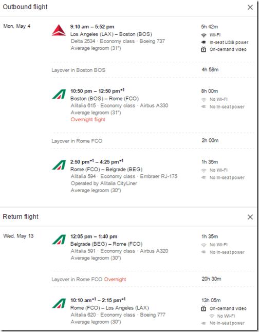 LAX-BEG Belgrade Alitalia $803