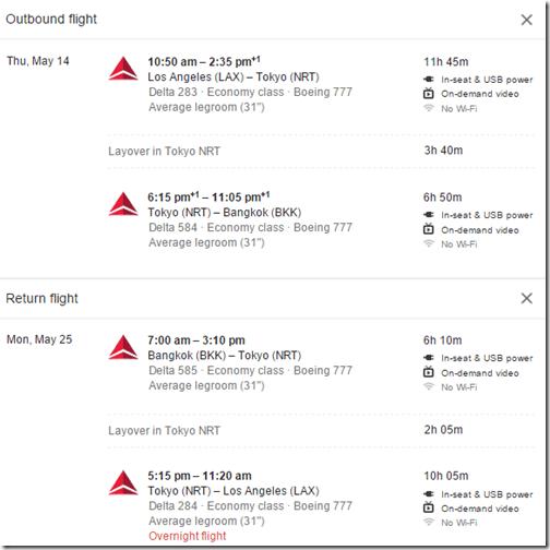 LAX-BKK Delta $787